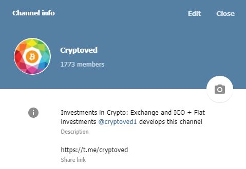 Telegram канал по инвестициям в криптовалюты от Cryptoved